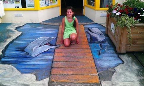 37. Graffiti de delfines en 3D