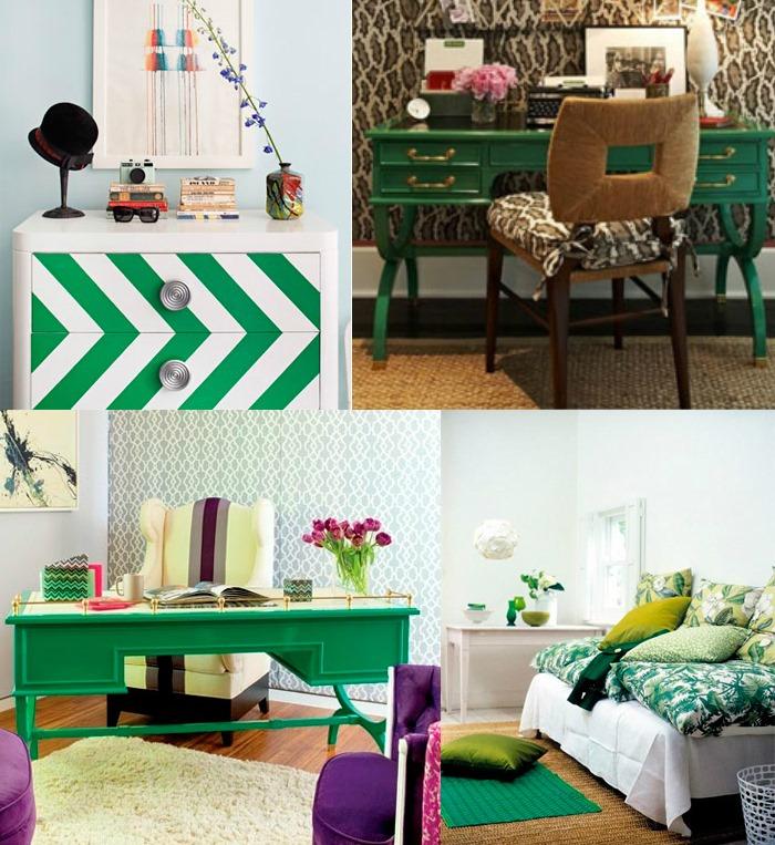 decoracao verde esmeralda