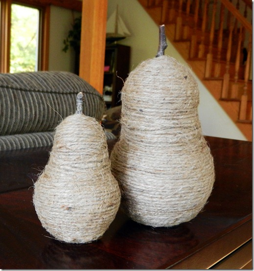 diy projects with jute--diy styrofoam pears wrapped in jute