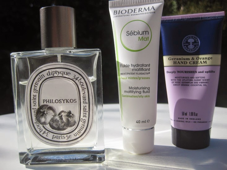 Diptyque-Philoskyos-perfume,Bioderma-Moisturising-Mattifying-Fluid Neals-Yard-Geranium Orange-handcream