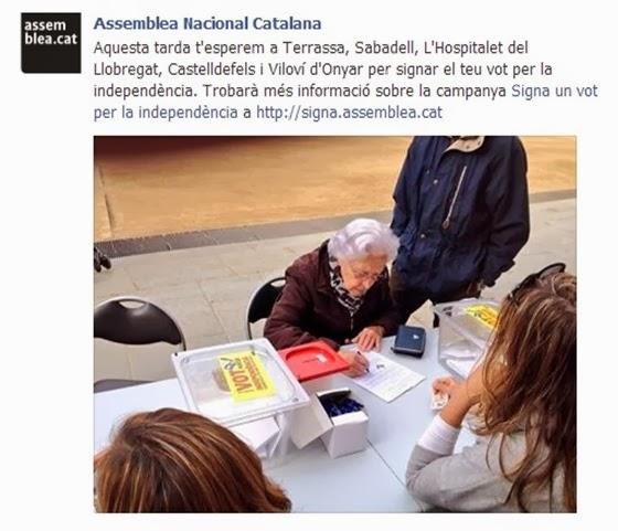 Assemblea Nacional Catalana en campanha de signatura