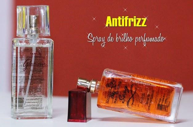 spray de brilho magnific hair, antifrizz, perfume para os cabelos