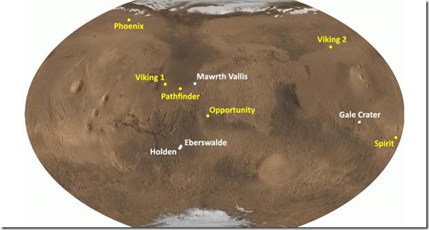 mapa marte curiosity