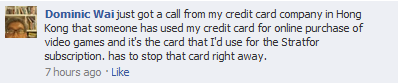 Facebook message about credit card being used to buy video games