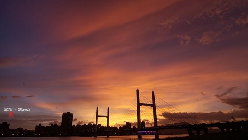 台北 重陽橋 夜景 夕陽 河濱自行車道