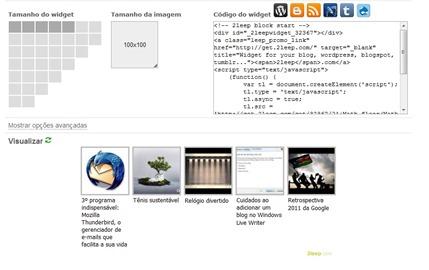 Página de configuração do widget do 2leep