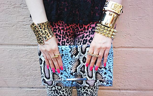 Leopard Print Cuff bracelet, H&M Faux Snakeskin Clutch,Spike bracelet, H Bracelet, Forever 21 Studded Gold Cuff Bracelet
