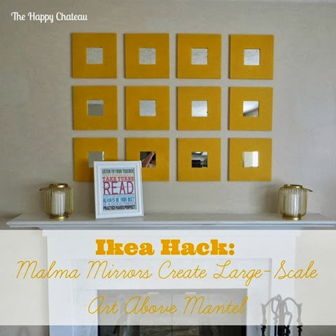 Ikea Hack- Malma Mirrors Create Large-Scale Art Above Mantel