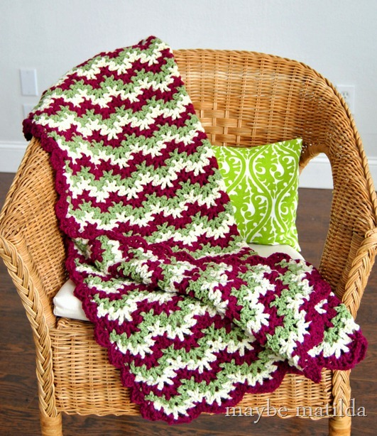 Green and Pink Zig Zag Crochet Blanket by maybe matilda