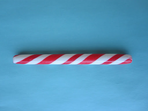 Instead of the full candy cane, you can purchase these peppermint barber poles from Hammonds.