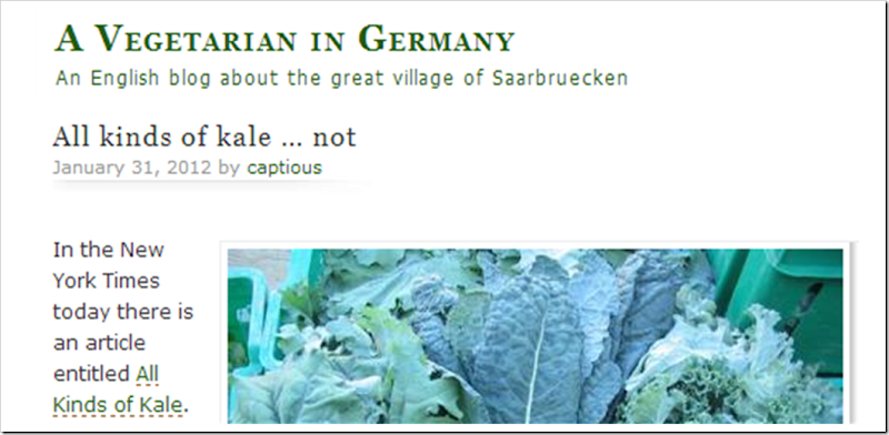 A vegetarian in germay all kinds of kale not