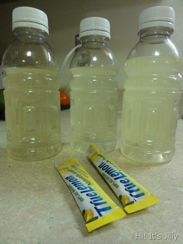 bottles of lemon water