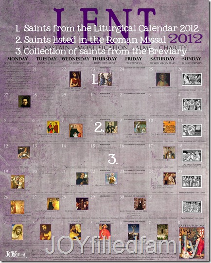 2012 Lenten Calendar - Old - KEY