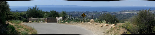 Panorama looking toward the ocean from the upper, really steep switchback on Old San Marcos