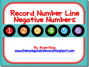 Record Number Line Negative Numbers