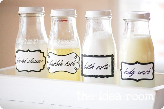 labeled bath jars by the idea room