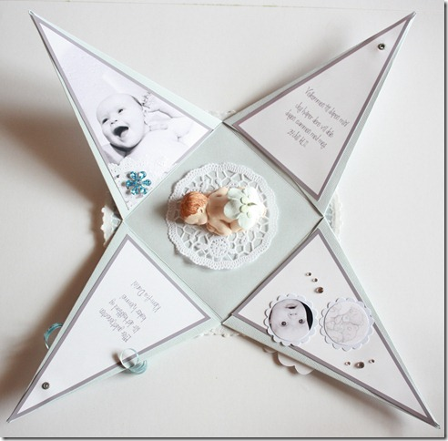 Dåpsinvitasjoner pyramide kort invitasjon baby blå IMG_1699