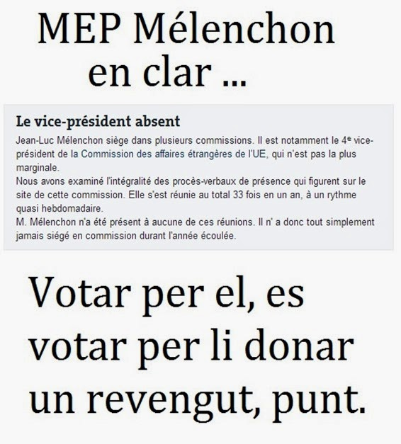 Mélenchon MEP e preséncia al Parlament Europèu