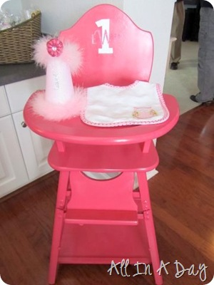 vintage pink first birthday highchair