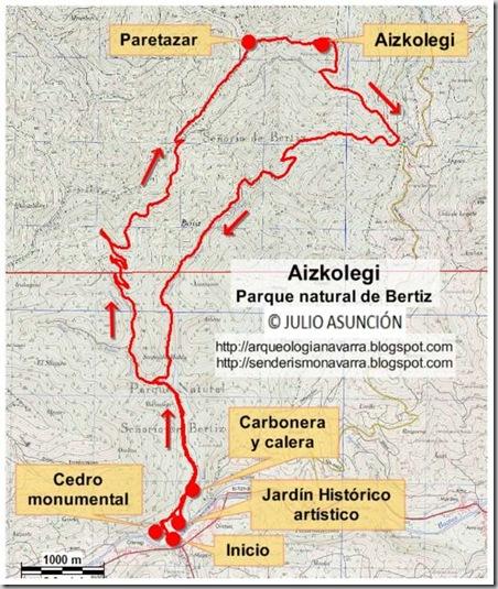 Mapa ruta Aizkolegi - Parque natural de Bertiz