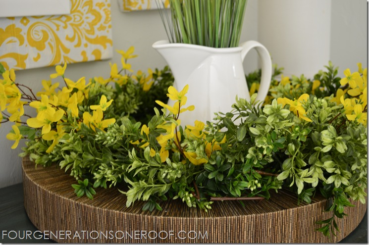 Spring mantel boxwood forsythia