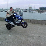 wheelie on a yamaha aerox in IJmuiden, Noord Holland, Netherlands