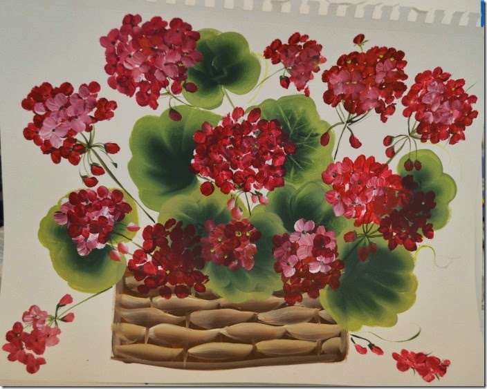 geranium basket painting tutorial