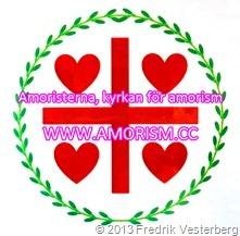 DSC09539 (1) Amoristerna standar flagga röd grön vit (1) bättrad färg 2 logotyp text Amoristerna kyrkan för amorism_thumb[7]