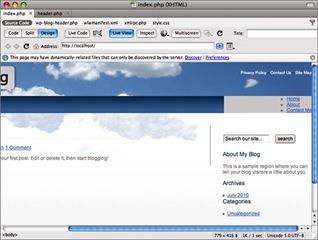 Afficher le menu pour personnaliser un thème Wordpress avec Dreamweaver