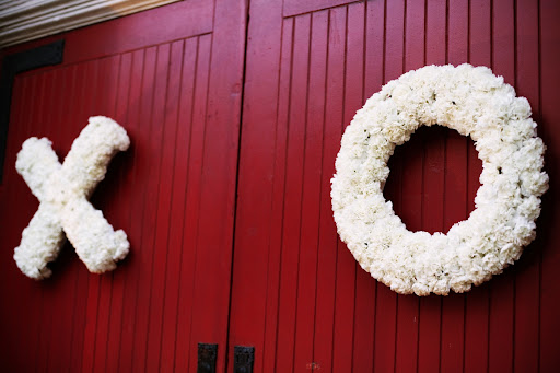 X & O wreathes decorated the church doors.