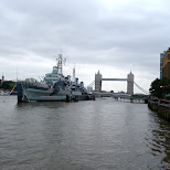 warship in the river thames in London, London City of, United Kingdom