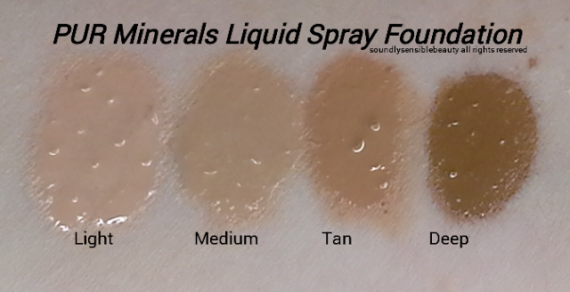 Pur Minerals 4-in-1 Liquid Veil Spray Foundation, Review & Swatches of Shades Light, Medium, Tan, Deep
