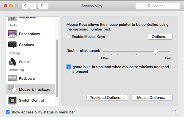 OS X Yosemite select the button