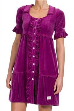 #004 Velour frill dress tunic royal