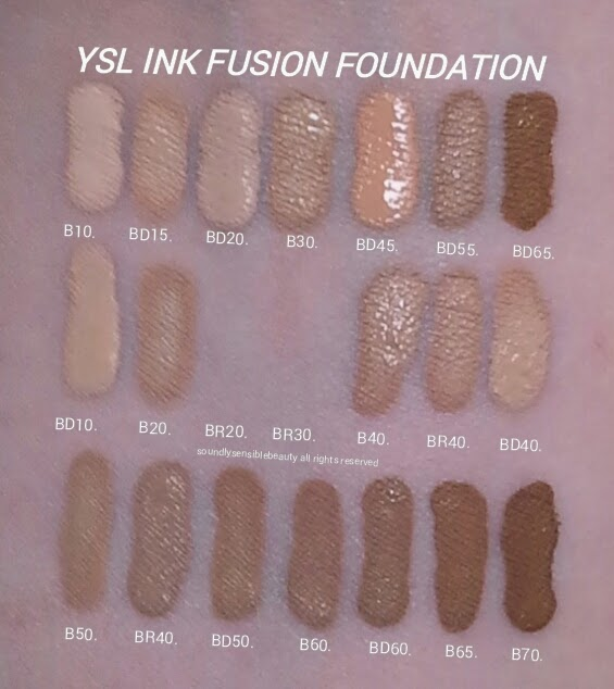 YSL Fusion Ink Foundation Swatches of Shades