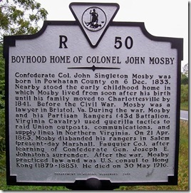 Childhood Home Of Colonel John Mosby, Marker R-50 Nelson Co., VA