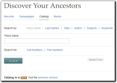 FamilySearch catalog search supports multiple criteria
