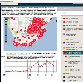 CRIME MAPS WHITES ATTACKED SA JAN2009 TO JAN11 2012 MAP FARMITRACKER COM