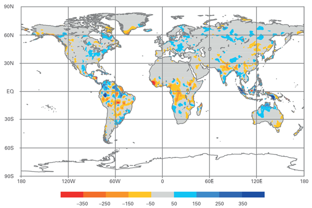 Decadal precipitation anomalies for global land areas for 2001–2010; gridded 1° raingauge-based analysis as normalized departures in mm/year focusing on 1951–2000 base period. Photo: Global Precipitation Climatology Centre (GPCC), Deutscher Wetterdienst, Germany