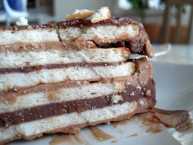 Kiksekage med to forskellige chokoladecremer