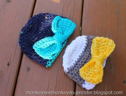 crocheted bow hats
