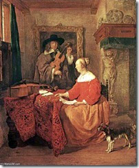 GABRIEL-METSU-A-WOMAN-SEATED-AT-A-TABLE-AND-A-MAN-TUNING-A-VIOLIN