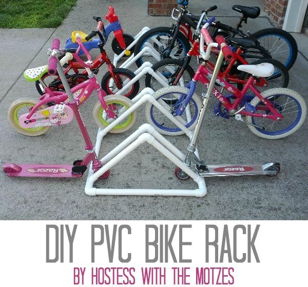 DIY PVC Bike Rack by Hostess with the Motzes