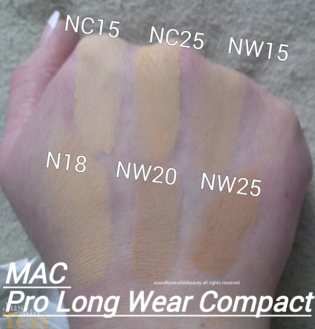 Mac Pro Longwear Compact Swatches of Shades