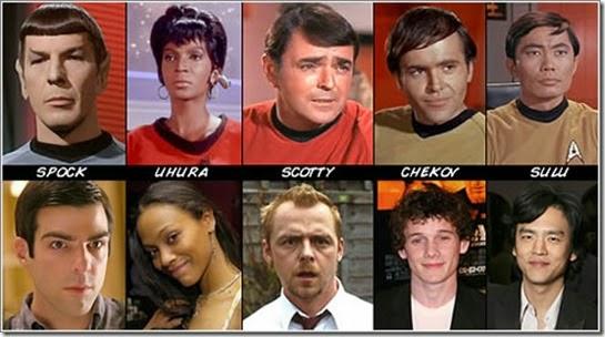 Vieja y Nueva Tripulación de Star Trek