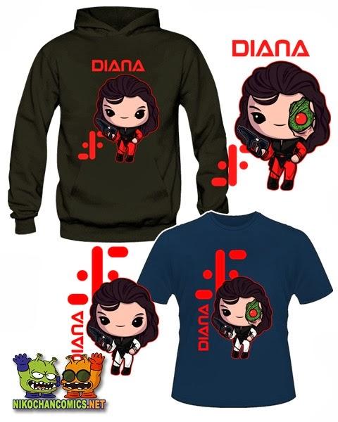 Diseños kawaii con las versiones 2 y 3 de los uniformes de la Comandante Diana de la serie V los Visitantes