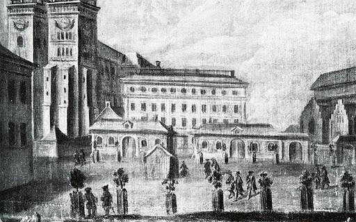 Dekanhuset före 1830 med sina förrådsflyglar