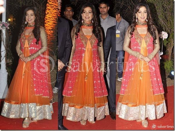 Juhi_Chawla_Orange_Net_Salwar_Kameez