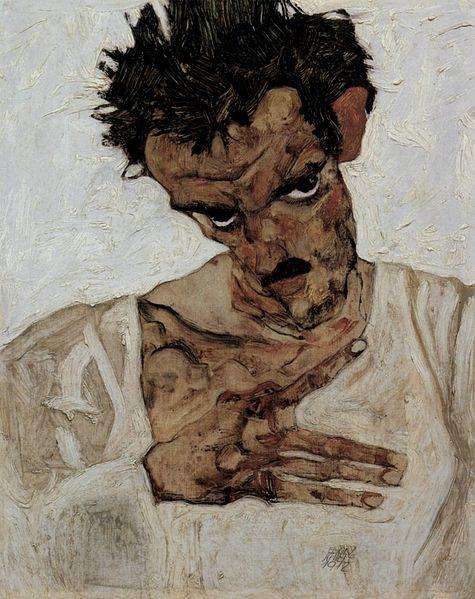 Egon Schiele_1912_Selbstporträt mit gesenktem Kopf