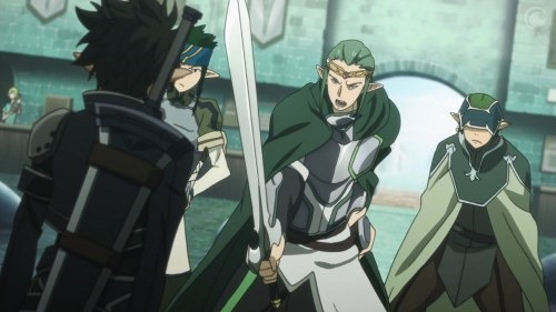 An elven warrior brandishes a sword menacingly at a dark figure with his back to the camera, as two lackies look on from the side